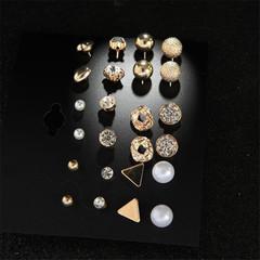12 Pairs/Set Earring Jewellery Women Fashion Accessories Rhinestone & Pearl Earring Jewellery gold one size