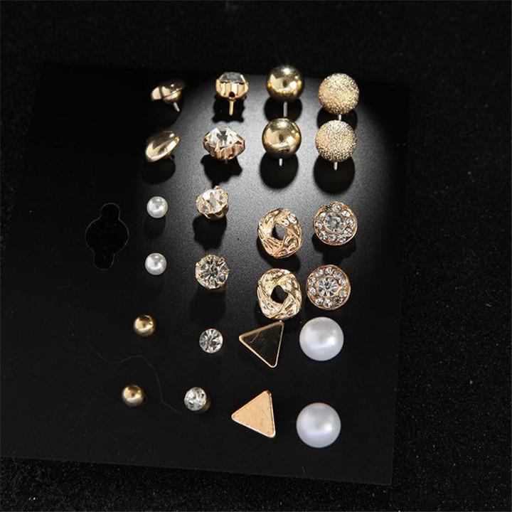12 Pairs/Set Earring Jewellery Women Fashion Accessories Rhinestone & Pearl Earring Jewellery silvery one size