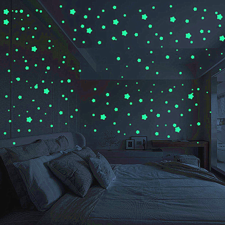 Home Decor Snowflakes Wall Stickers 50Pcs 3D Fluorescent Wall Stickers For Kids Room Bedroom Ceiling mixed colors one size