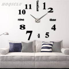 DIY Watch Wall Clock Modern Design Stickers Mirror Effect Acrylic Decal Home Decoration 12 Inches black one size