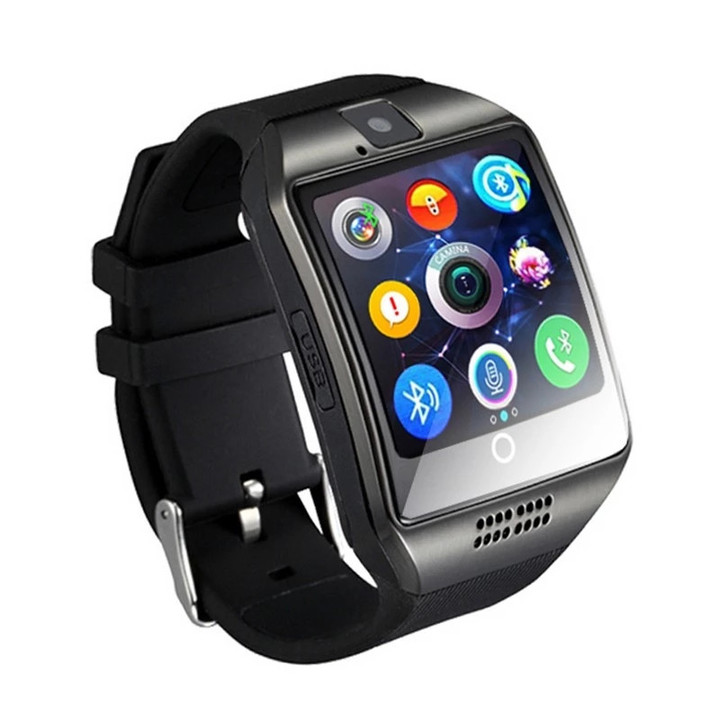 2019 Mobile Week BlueTooth Sports Smartwatch Q18 With Camera TF/SIM Card Slot For Smart Phone black one size