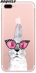 Phone Case Rabbit Slim Transparent Soft Silicone TPU for IPhone 5/6/7/8/Plus 01 iphone 5/5s/5c