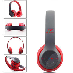 Wireless Bluetooth Headphone P47 Stereo Bass  With TF Radio Mic 3.5mm jackpin for IOS/Android red
