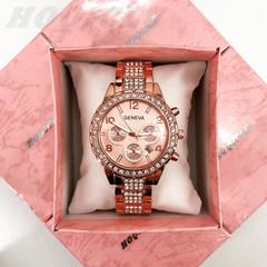 Luxury Fashion Wrist Watch Women Rhinestone Wristwatches Ladies Classic Quartz Watches rose gold one size