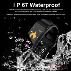 HOQICLU Smartwatch Watches 115plus Sport IP67 Waterproof For IOS Android iPhone Samsung Infinix blue Strap