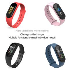 M4 Smart Watches Fitness Tracker Band Sport Bracelet Heart Rate Blood Pressure Monitor pink M4