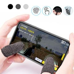 1 Pair L1 R1 Breathable Mobile Game Controller Finger Sleeve Touch Trigger for Fortnite PUBG black one size