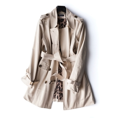 Womens Clothing Joan Rivers Plus Size Water Resistant Trench Coat leopard lining as pic 3X