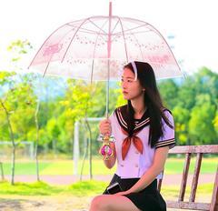 Anime Sailor Moon Magic Stick Long Handle Mesh Umbrella Heart-shaped Sunshade