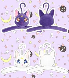 Japan Anime Sailor Moon Padded Hook Hangers Adult Coat Clothes Luna Artemis 2pc as pic as pic