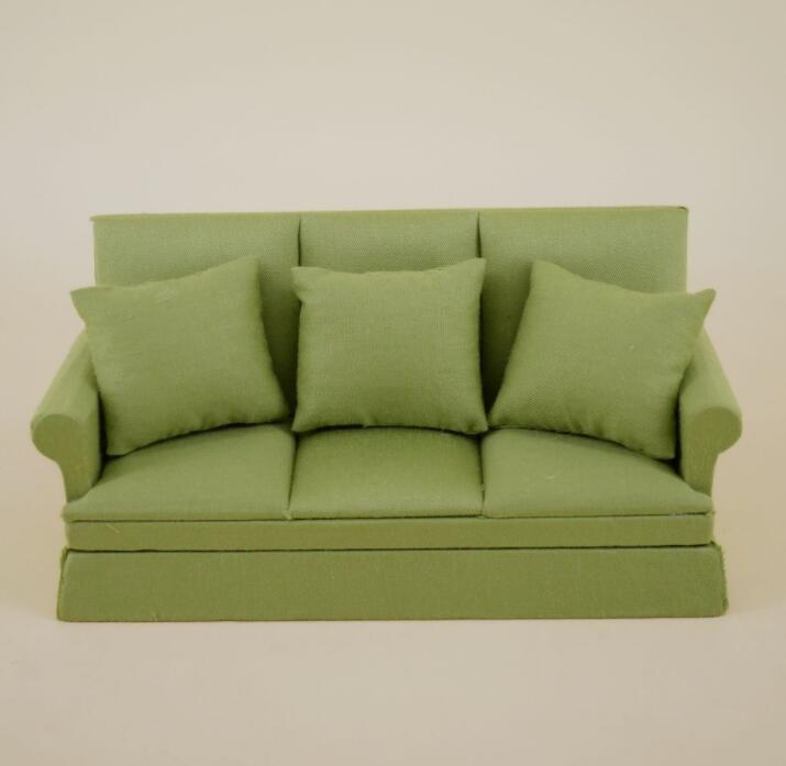 dollhouse miniatures toy furniture 1:12 Sofa Couch Wood with Cushion Solid Color Green 16cmx6.5cmx8cm