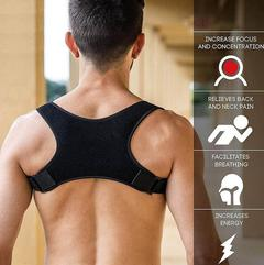 Back Posture Correction Shoulder Corrector Support Brace Belt Therapy Men Women black free size