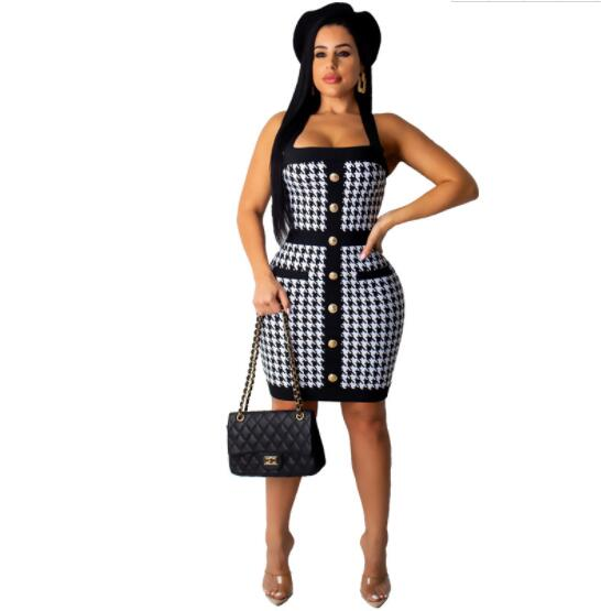 women's clothes Houndstooth Check strape button down pocket lady dress l white