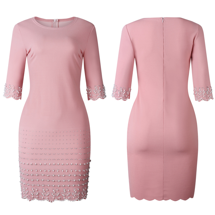 Women's Clothes scallop Pearl trim Sleeve Zip up Solid Plain Bodycon Dress xl pink