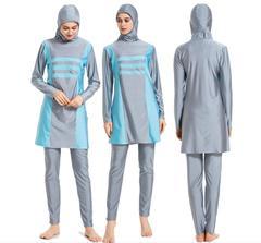 Women Arab Modesty Muslim Swimwear Long Sleeve Patchwork Full Cover Islamic Beachwear Swimsuit Sets Blue m