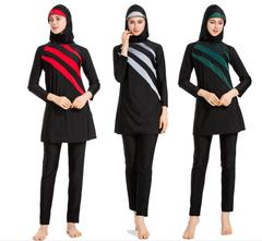 Women Arab Modesty Muslim Swimwear Plus Size Long Sleeve Striped Full Cover Islamic Swimsuit Sets green m