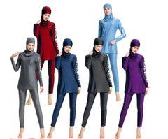 Women Arab Modesty Muslim Swimwear Floral Long Sleeve Full Cover Islamic Beachwear Swimsuit Sets blue m