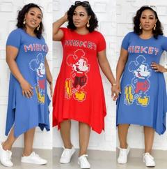 Women's Clothes Mikey Mouse Dresses Plus Size Cartoon Disney Land trapeze hem Short Sleeve Cute xxl blue