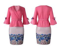 Women's Clothes blazer skirt set Office Lady Belt tulip Bowtie 3/4 Sleeve Floral Striped Skirts Pink L