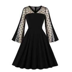 Women's Clothes fit flare semi sheer mesh dots Dresses long bell sleeve for party office lady zip up s black