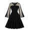 Women's Clothes fit flare semi sheer mesh dots Dresses long bell sleeve for party office lady zip up m black