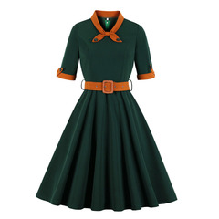 Women's Clothes Tie Collar Belt Fit Flare Dresses Retro Zip up Turn up Sleeve Office Lady Mid Calf s green