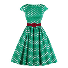 Women's Clothes Cap Sleeve Polka Dots belt Dresses Plus Size Fit Flare Cute for Vacation s green
