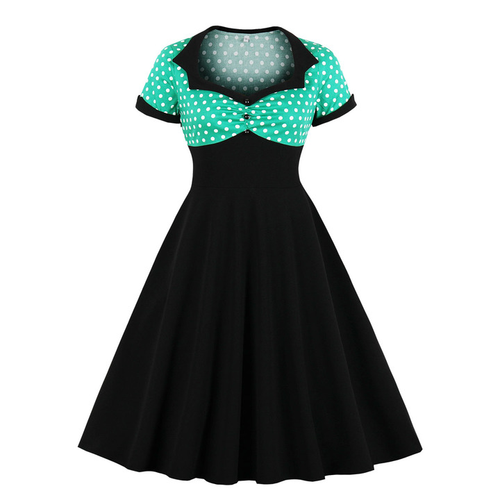 Women's Clothes Retro Polka Dots shirred Button Front Dresses Fit Flare Patchwork Short Sleeve 4xl green