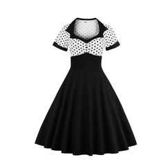 Women's Clothes Retro Polka Dots shirred Button Front Dresses Fit Flare Patchwork Short Sleeve s white