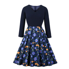 Women's Clothes Fit Flare Floral Navy Dresses Long Sleeve Mid Calf Office Lady Zip up s blue