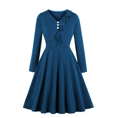 Women's Clothes Jean Blue Side Ruffle Dresses Fit Flare Button Front Long Sleeve Causal Side Zip up s blue