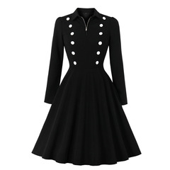 Women's Clothes Office Lady Buttons Black Dresses Collar Fit Flare Long Sleeve Front Zip s black