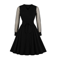 Women's Clothes Black Semi Sheer Mesh Shoulder Dots Dresses Wrap Bow Tie Fit Flare Office Lady Party s black