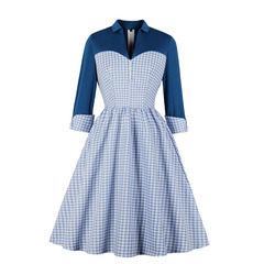 Women's Clothes Corset dresses gingham Country style Fit Flare Turn up 3/4 Sleeve mid Calf s blue