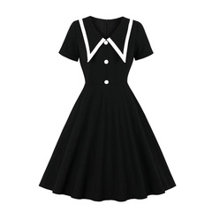 Women's Clothes  Peter Pan collar Dresses Housemaid Fit Flare Short Sleeve Mid Calf Button  Zip up s black