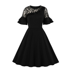 Women's Clothes Lace Shoulder Dresses ruffle sleeve Semi Sheer Mesh Fit Flare Mid Calf s black