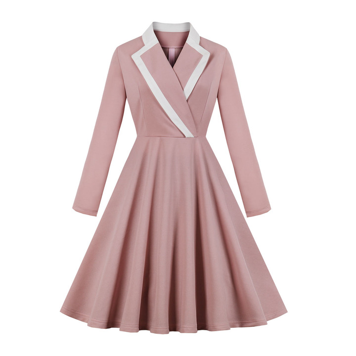 Women's Clothes Blazer Dresses Fit Flare Pink Zip up Office Lady Long Sleeve s pink