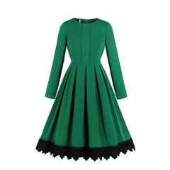 Women's Clothes Teal Retro Lace Trim Dresses Fit Flare Mid Calf Zip up Long Sleeve s green