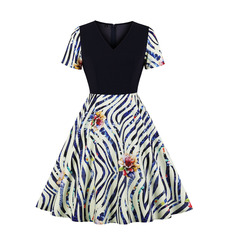 Women's Clothes Zebra Striped Floral Fit Flare Dresses Short Sleeve V neck s as pic