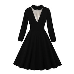Women's Clothes Front Mesh Dresses Collar Dots Semi Sheer Fit Flare Long Sleeve s black