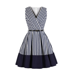 Women's Clothes Striped Wrap Dresses Belt Sleeveless Knee Length Zip up s blue