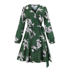 Women's Clothes Lily Floral Dresses Wrap Tie Long Sleeve Knee Length s green