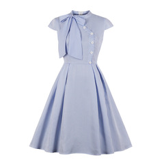 Women's Clothes Tie Collar Striped Dresses Cap Sleeve Fit Flare Mid Calf Cotton Blend s as pic