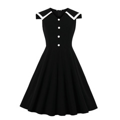 Women's Clothes Peter Pan Sailor Collar Dresses Button Front Fit Flare Sleeveless Zip up s black