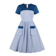Women's Clothes Corset dresses gingham Country style Fit Flare Turn up Short  Sleeve mid Calf s as pic