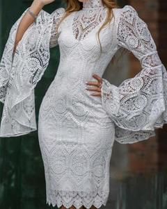Women's Clothes White Lace Wedding Dresses Stand Collar Long Bell Sleeve Knee Length S White