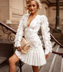 Women's Clothes White Lace Deep V neck Wedding Dresses Bodycon Frilled Sleeve Chiffon Rim Zip up s white