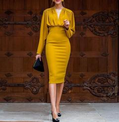 Women's Clothes Solid mustard Dresses Bodycon Long Sleeve High Waist  Mid Calf Wrap s yellow
