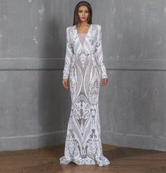 Women's Clothes Wedding Long Dresses Long Sleeve Lace Semi Sheer Bodycon s white