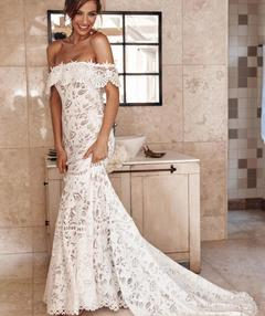 Women's Clothes Long Wedding Mermaid Dresses Off Shoulder Lace Hollow out White Lace s white